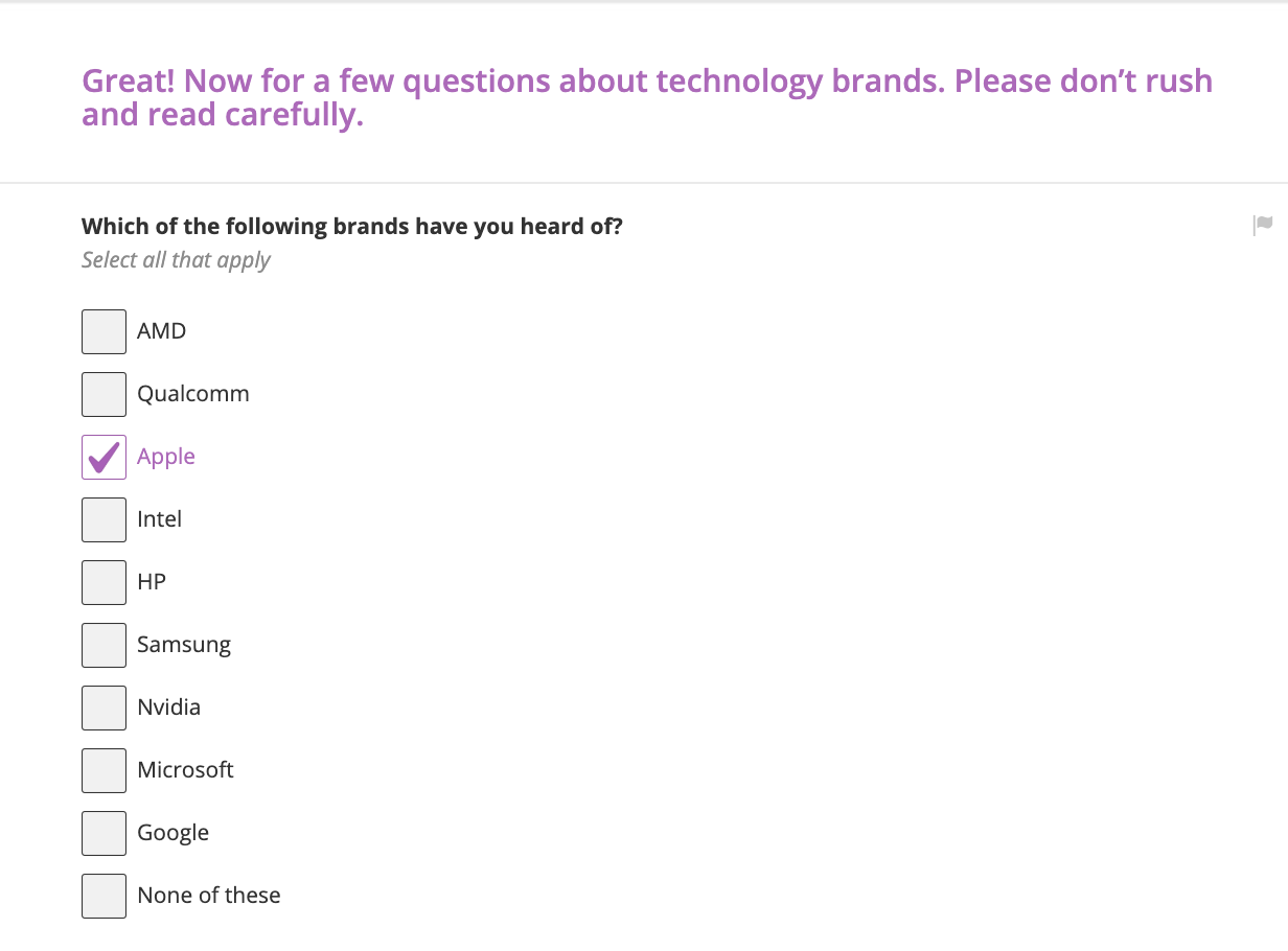 Aided brand awareness survey question