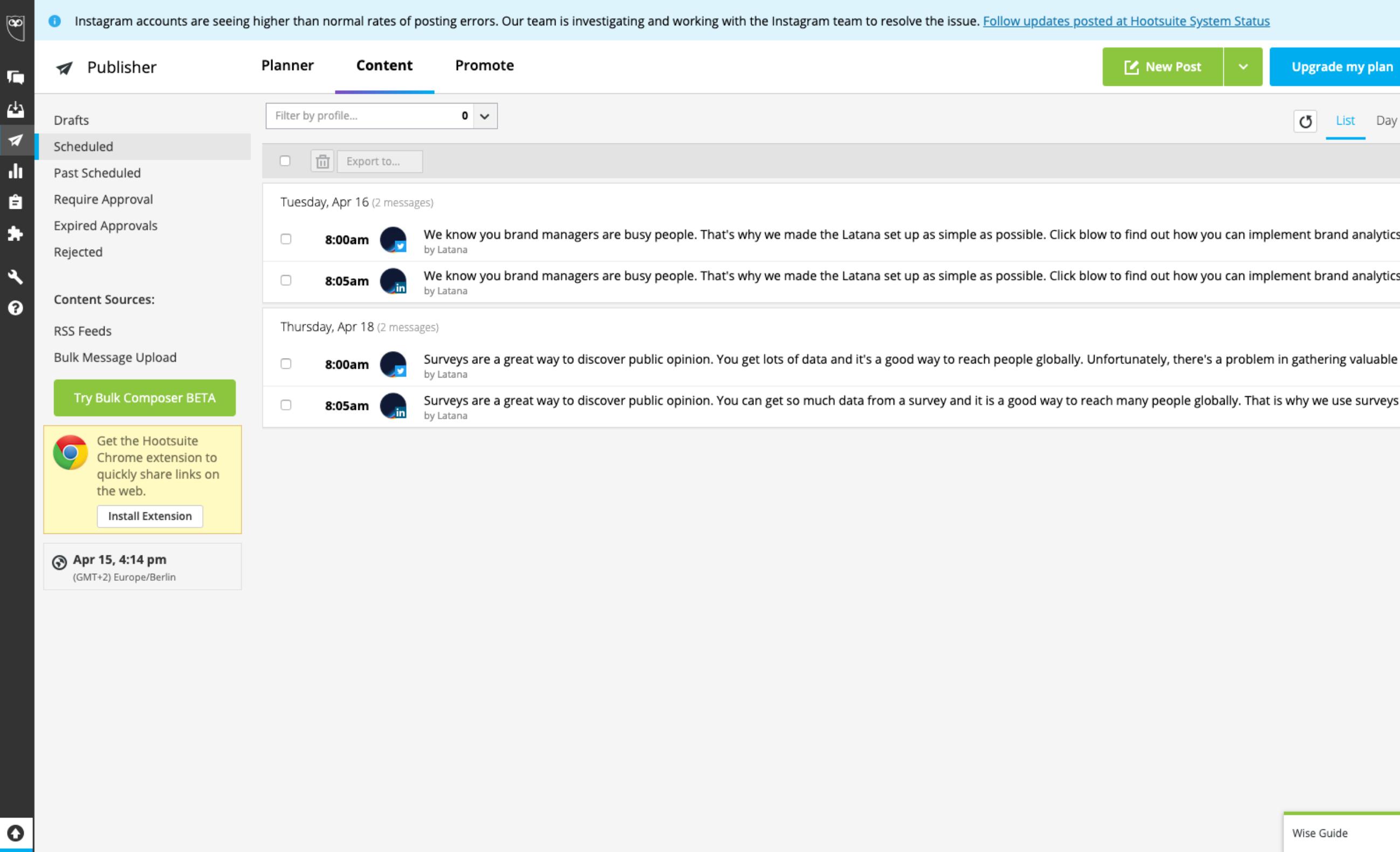 Screenshot of Hootsuite