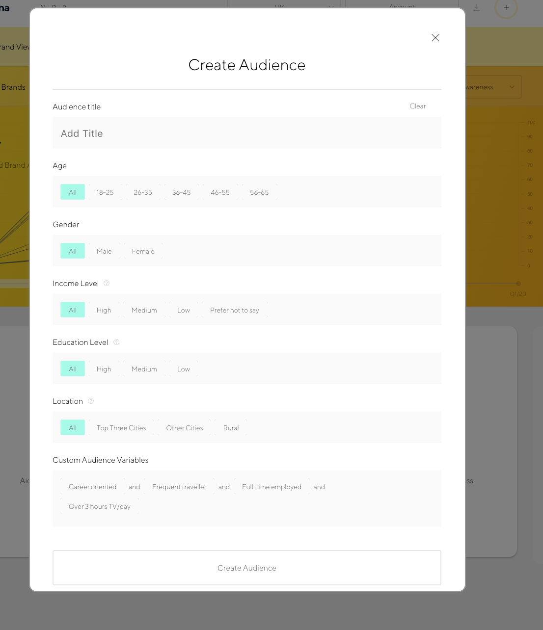 Latana Brand Analytics Audience Builder