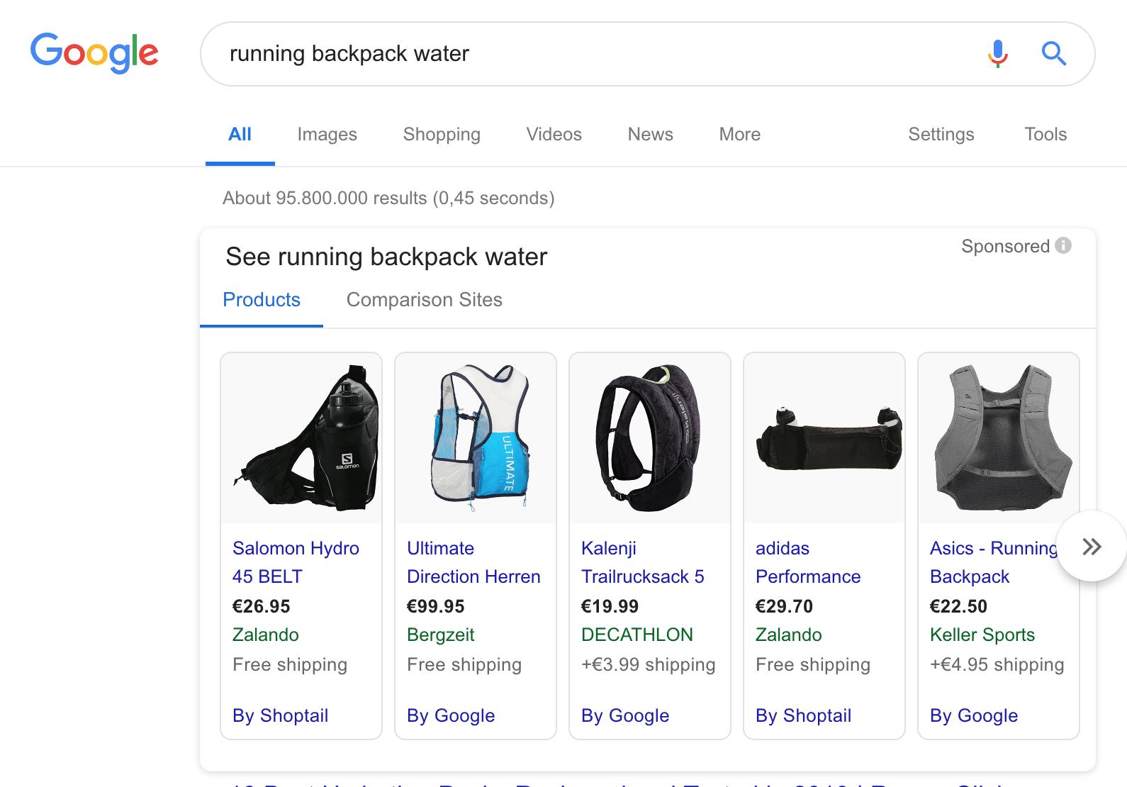running backpack water keyword used for brand awareness