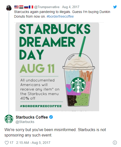Starbucks fake news