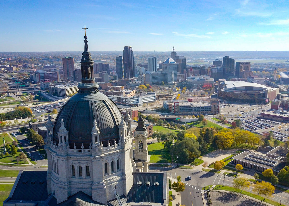 The cathedral and downtown saint paul