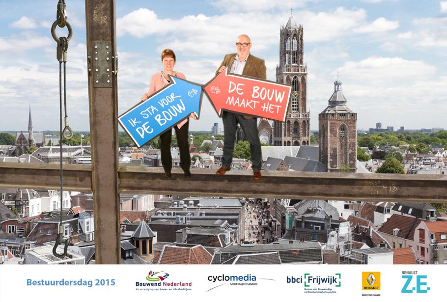 Infratechbeurs met green screen fotografie en fotomarketing voor Bouwend Nederland op de Bestuurdersdag