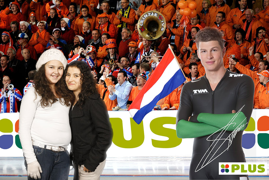 Green screen fotostudio van Funpix waarbij het winkelend publiek virtueel op de foto kon met schaatser Sven Kramer.