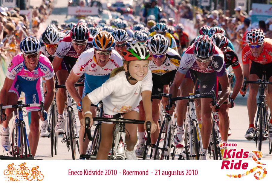 Green screen fotostudio van Funpix tijdens de Eneco Kidsride in 2010 in onder andere Sittard en Roermond.