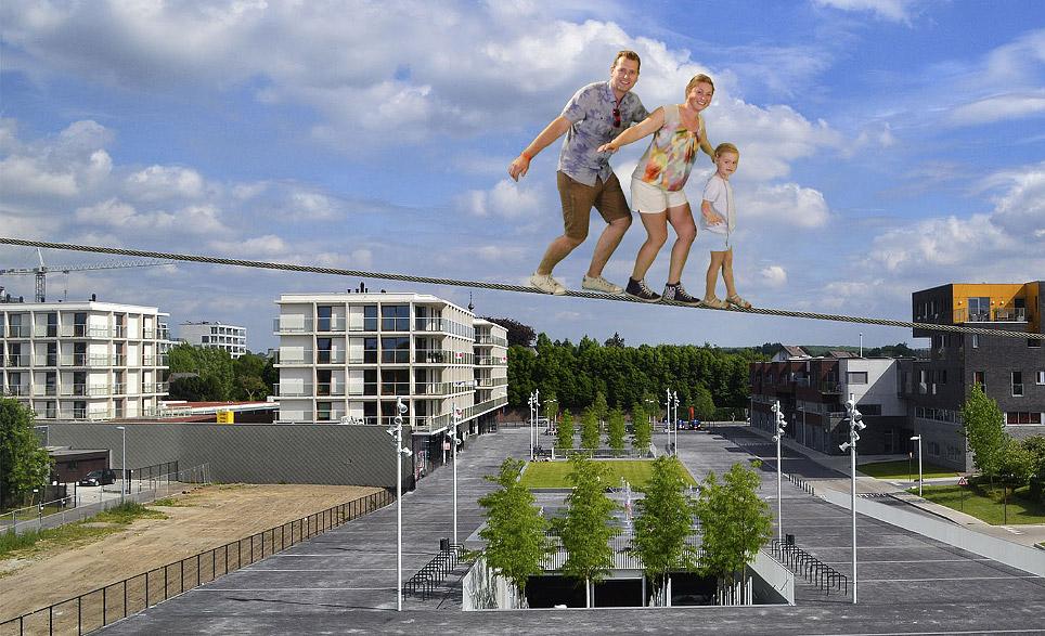 Green screen fotografie als entertainment voor opening nieuwe boulevard in Waregem in Stadhuis door Funpix