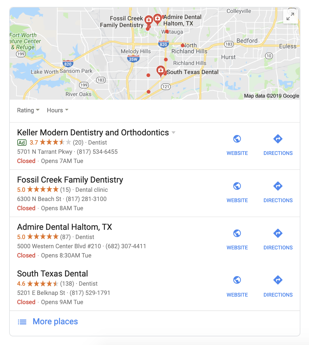 Google Local Pack Example