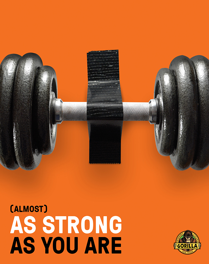 Gorilla Tape ad with dumbbell