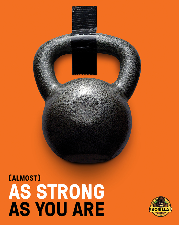 Gorilla Tape ad with kettlebell