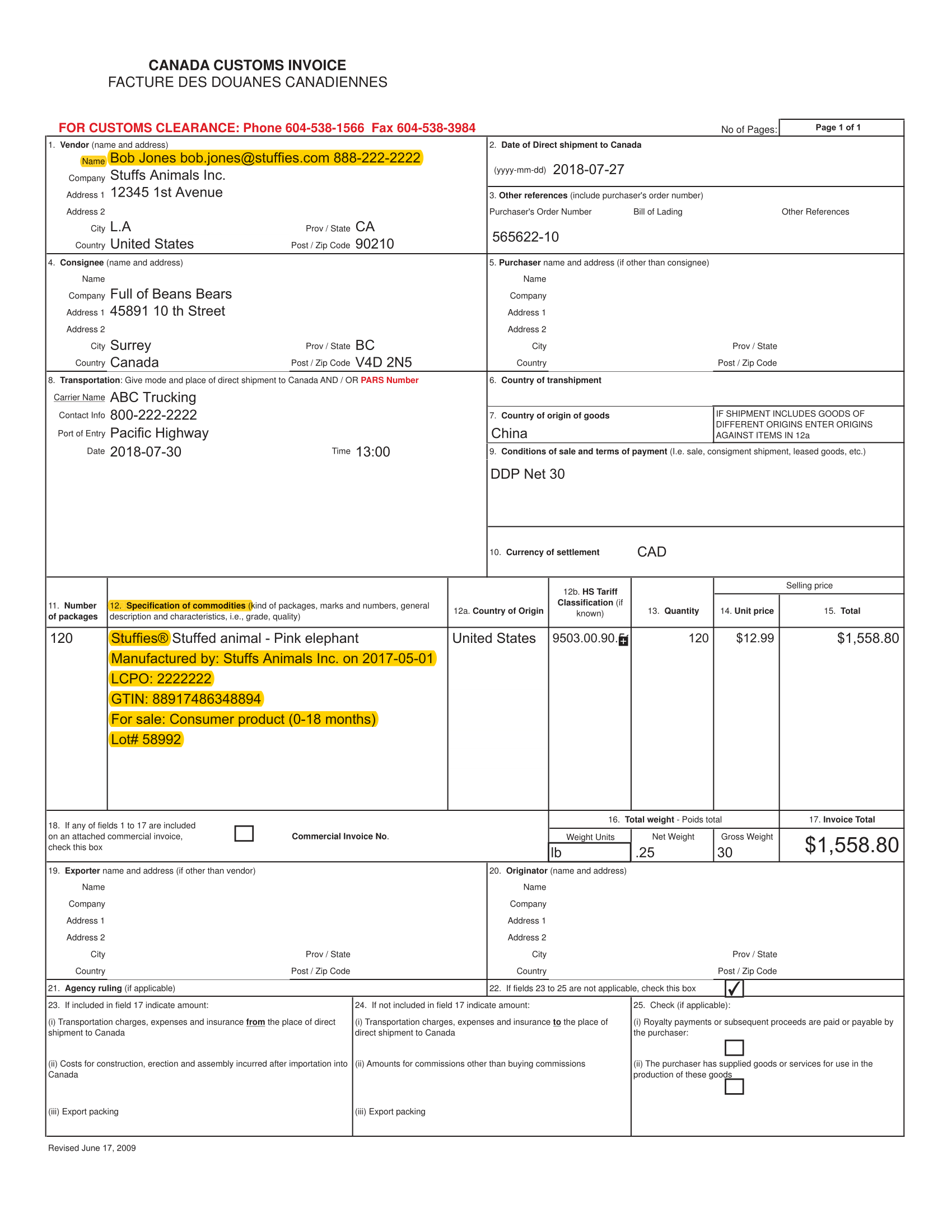 Canada Customs Invoice Example 1