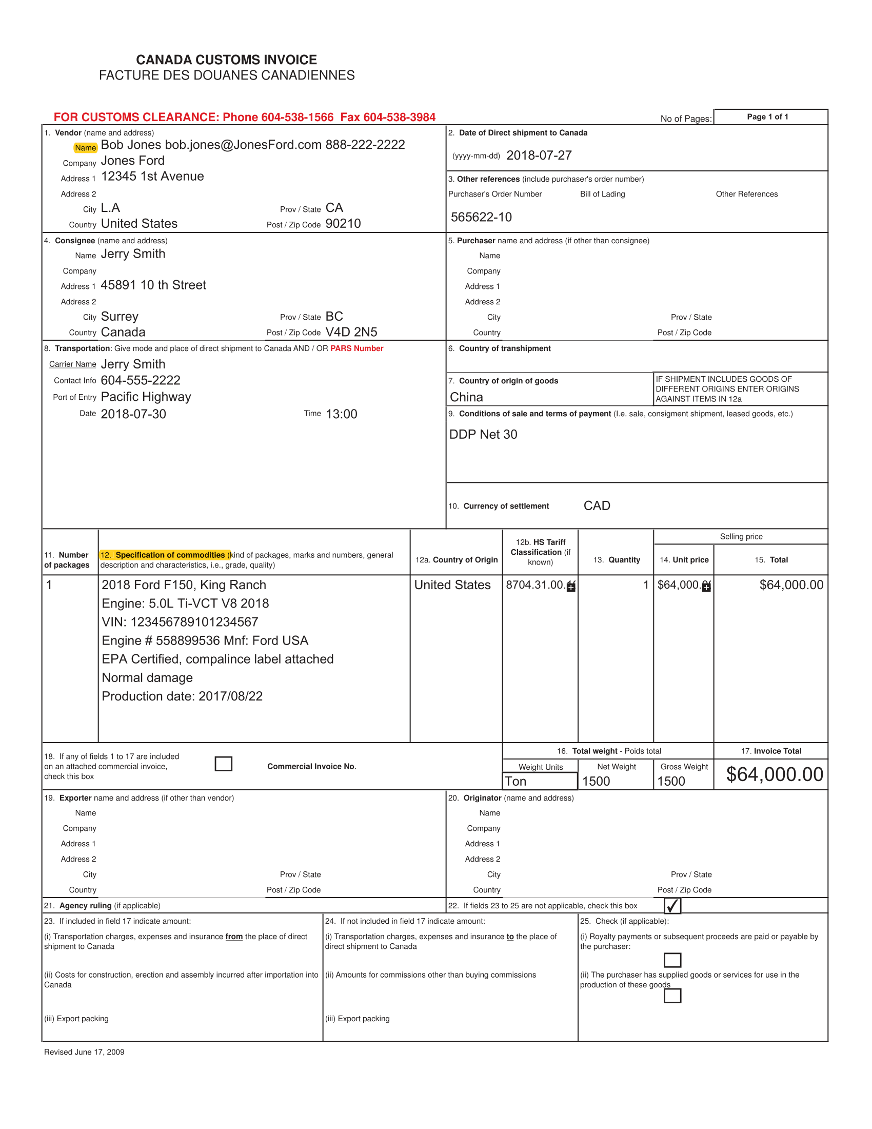 Canada Customs Invoice Example 3