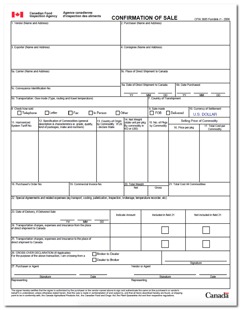 picture regarding Printable Nafta Form named Canada Customs Types PDF Downloads PCB