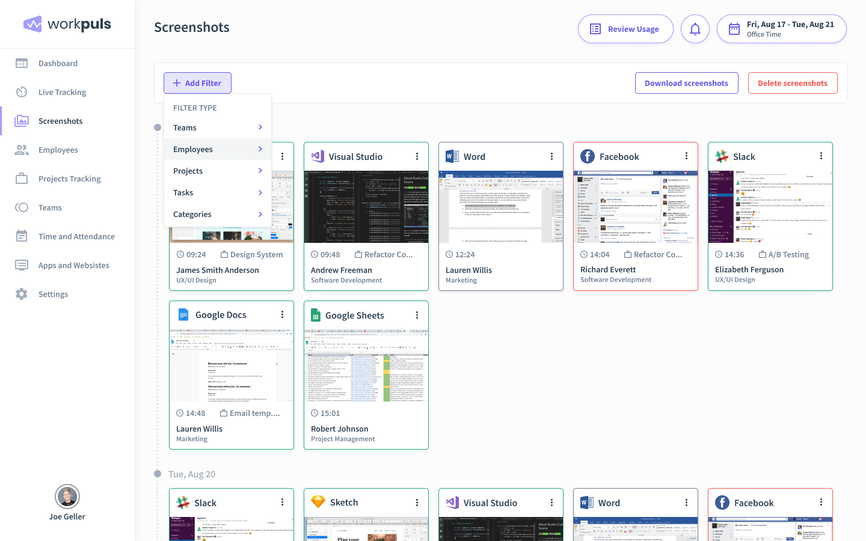 employee monitoring software screenshots