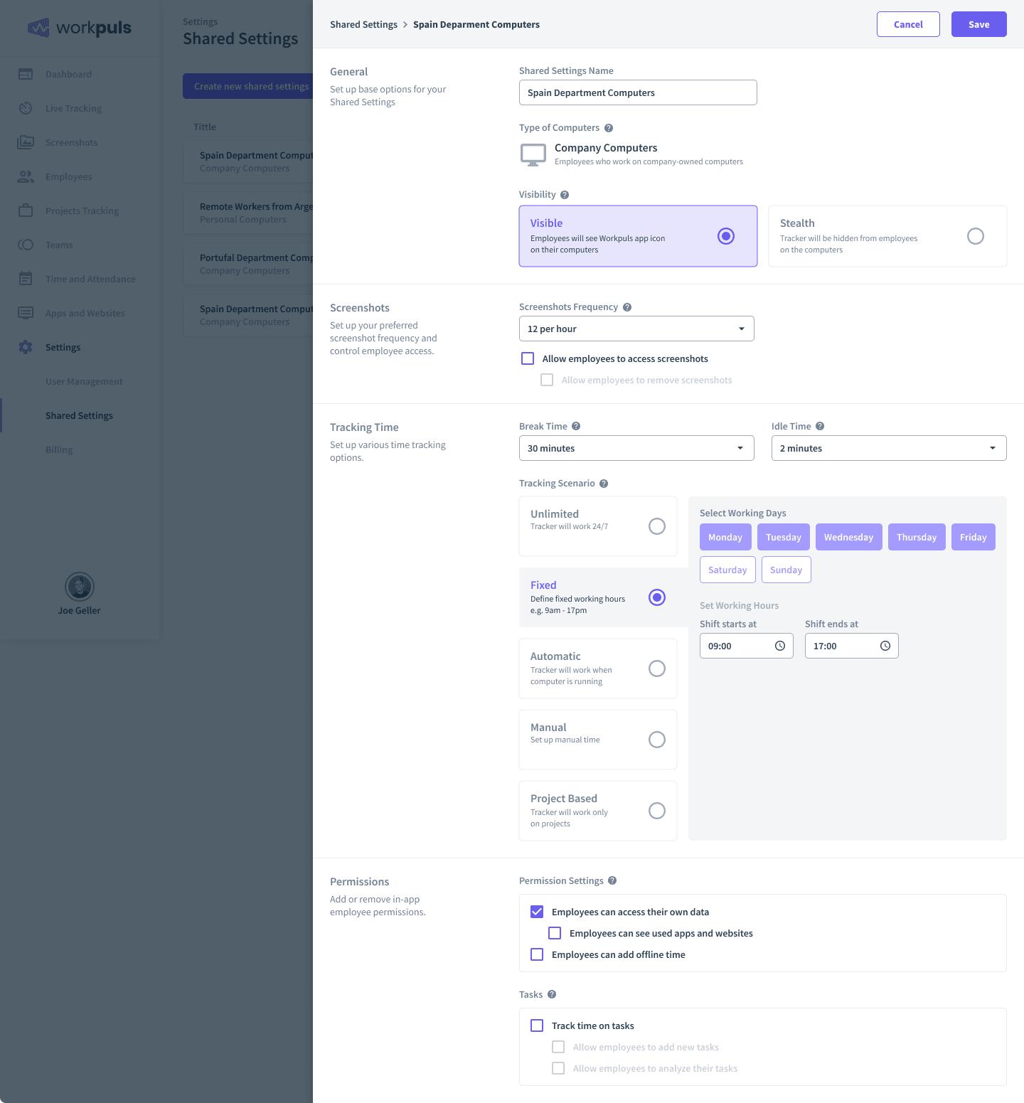 employee monitoring settings page