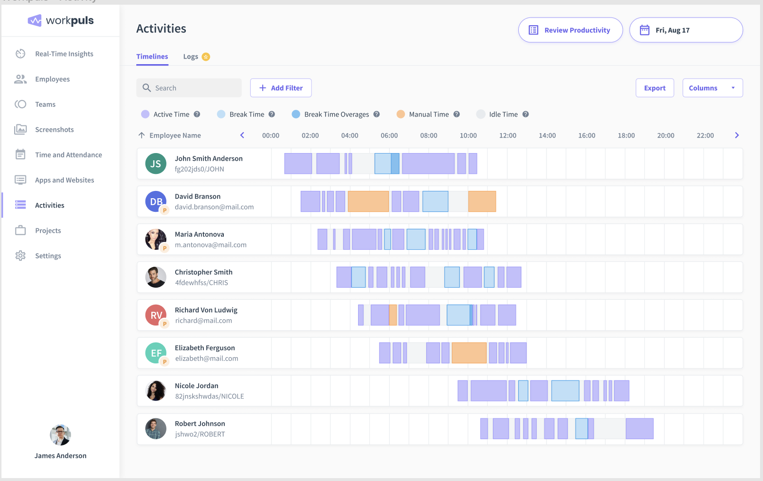 workpuls timelines feature