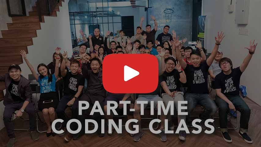 a picture of next academy students with a part-time coding class overlay text