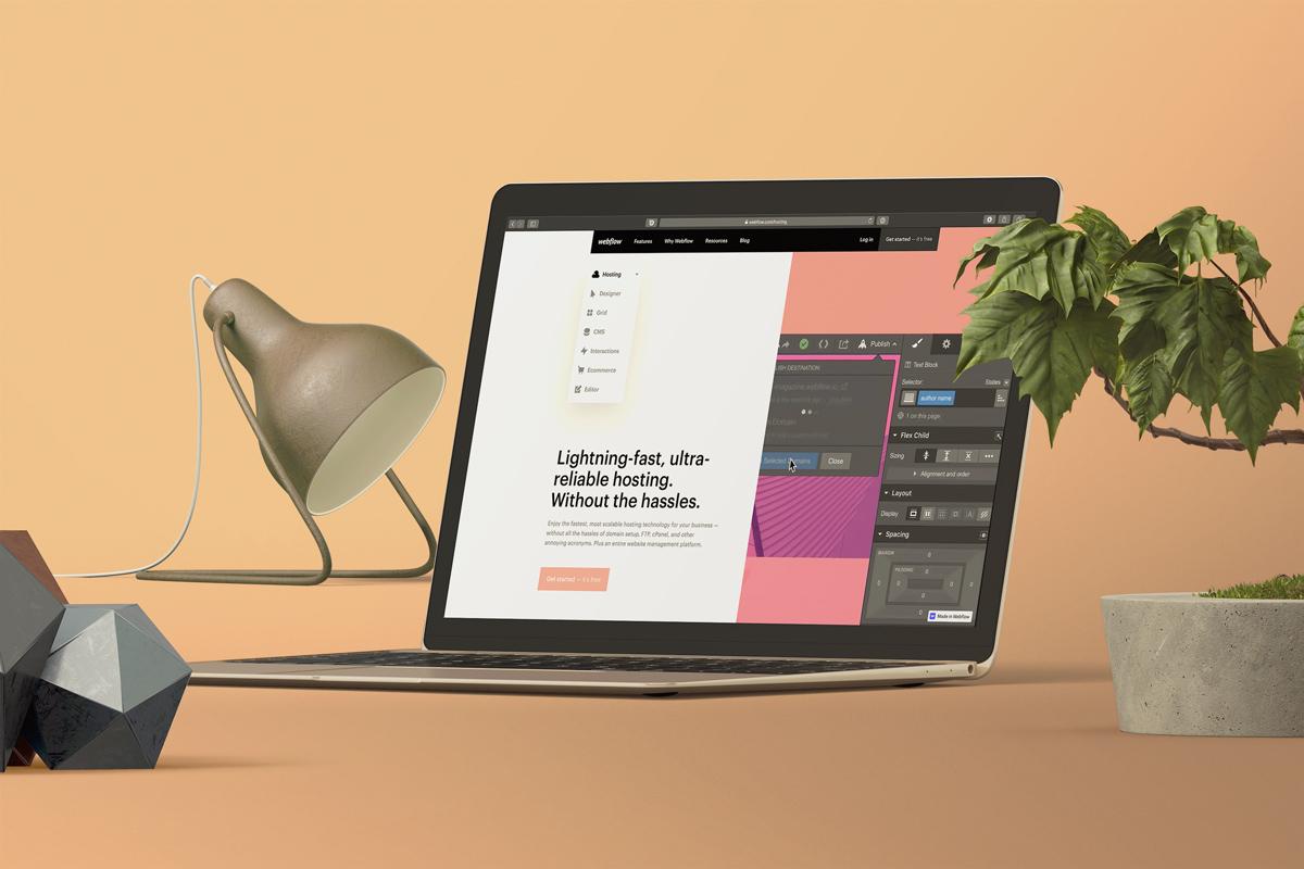 Laptop mit offener Webflow Hostingseite