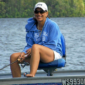 Woman relaxing fishing from boat