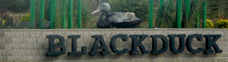 Blackduck, MN wayside rest park statue and wall