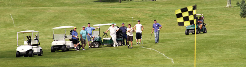 Blackduck Municipal Golf Course - golfers and their carts on the fairway