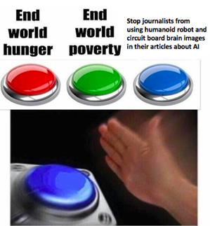 Meme on journalists using humanoid robot and circuit board brain images in articles about AI