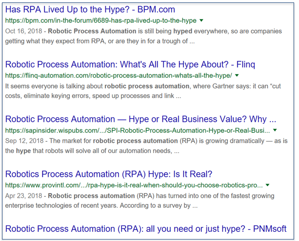 Screenshot of Google SERP on RPA