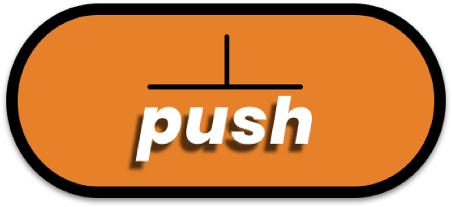 An image of Push's logo an orange oval shape with push written in white text