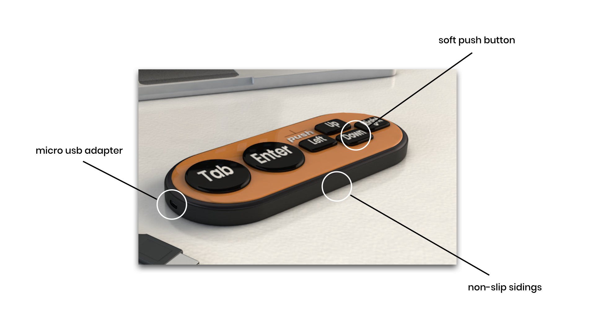an annotation of the proposed final product pointing out the micro usb push buttons and rubber siding