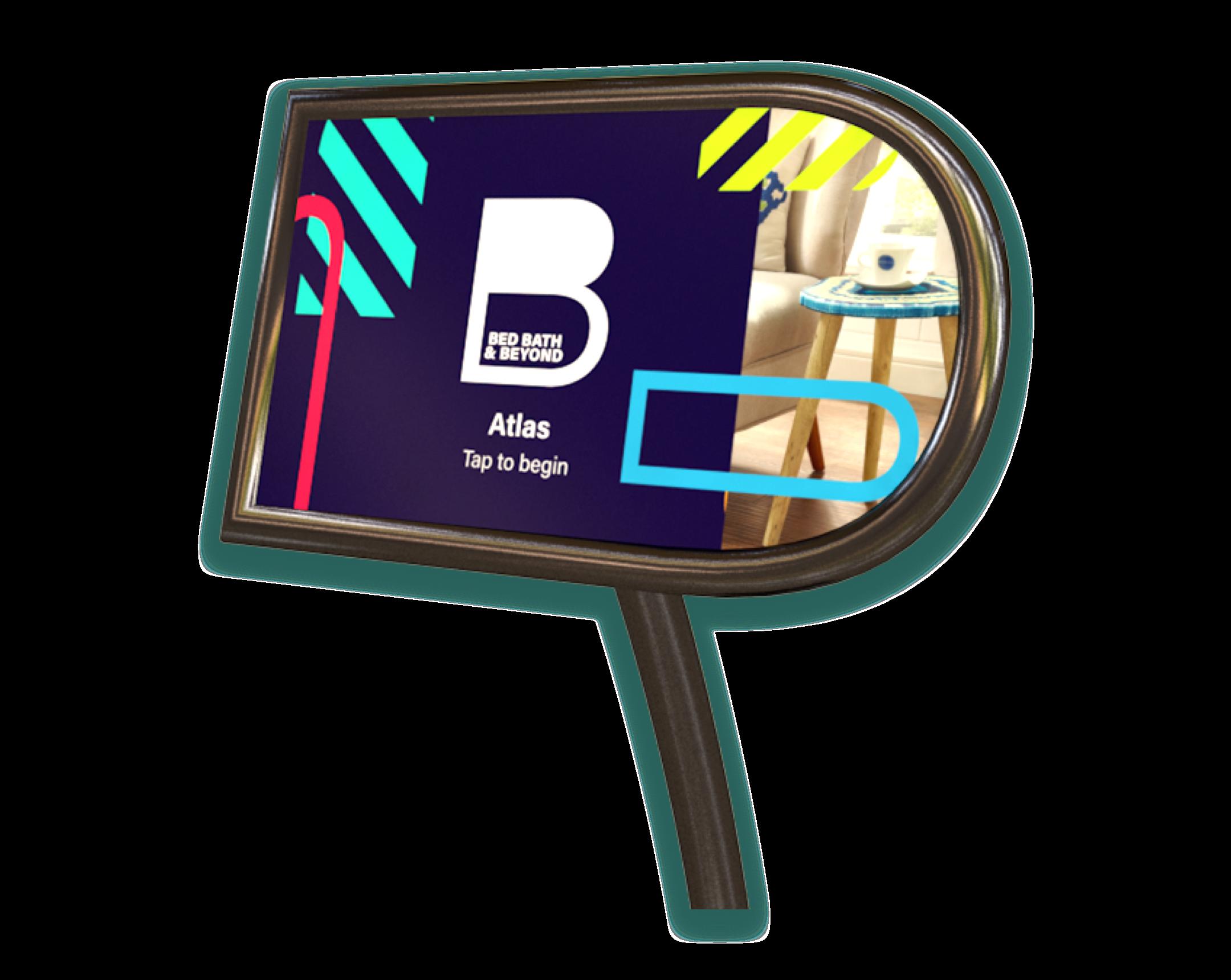 A B shaped black metal kiosk touchscreen