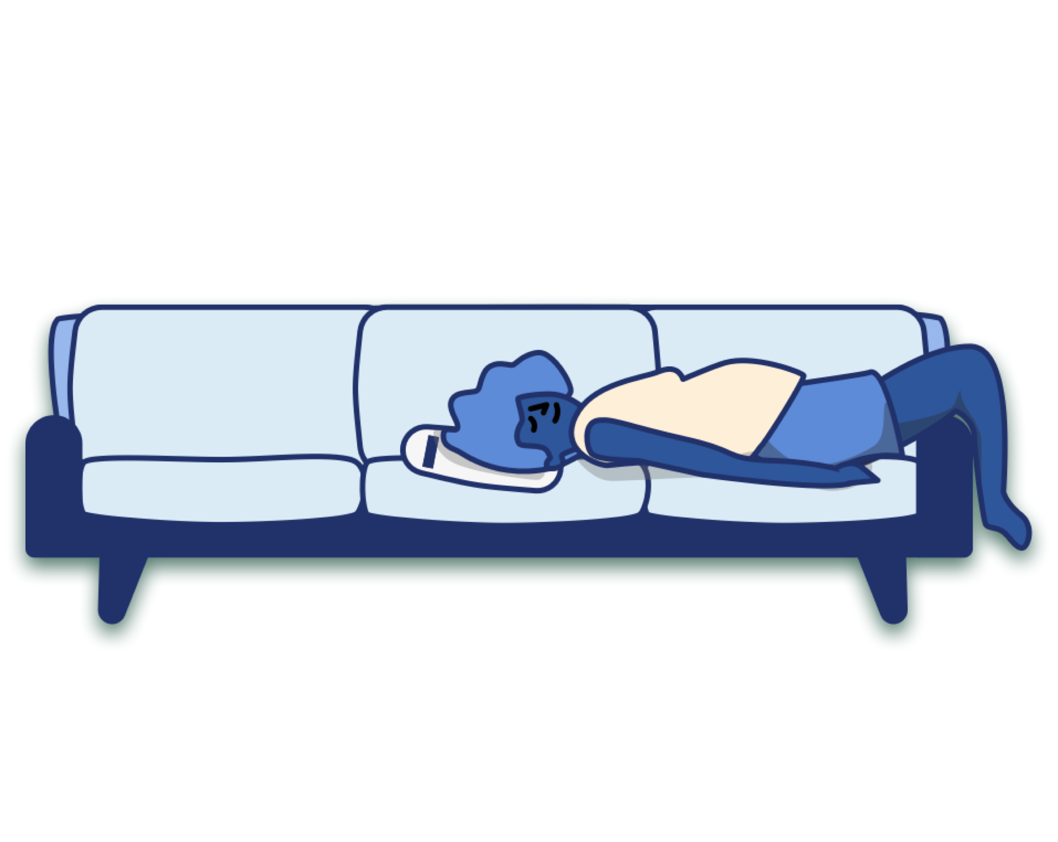 A blue character lounges on the couch with a Casper pillow