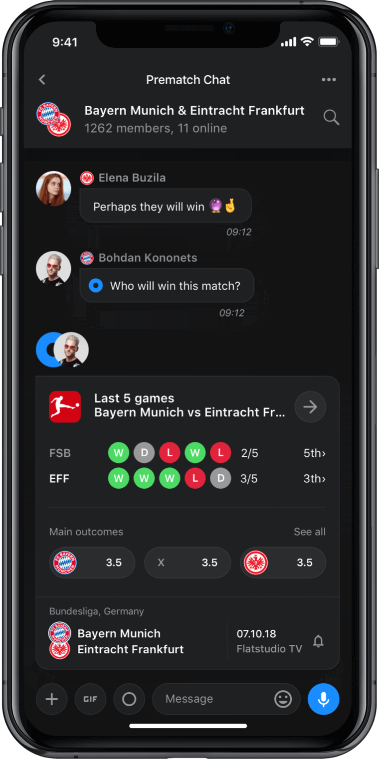 Iphone screen, rewind app, prematch chat