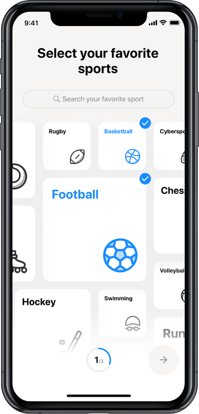 Iphone screen, rewind app, select your favourite sports