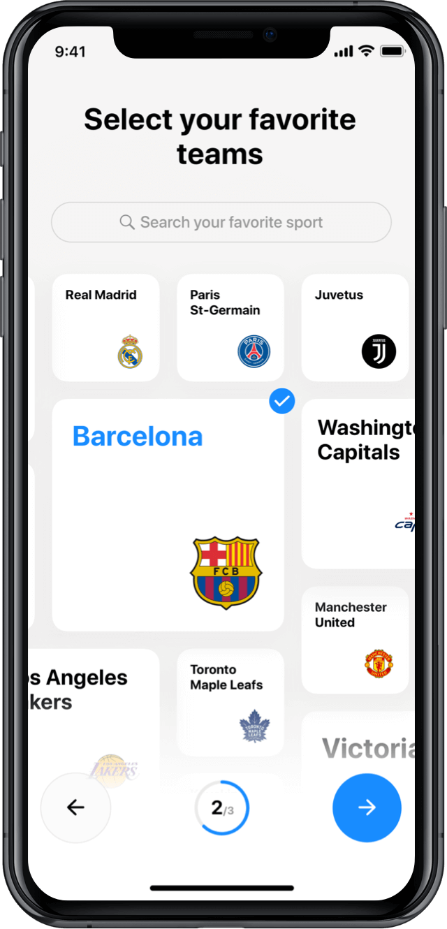 Iphone screen, rewind app, select your favourite teams