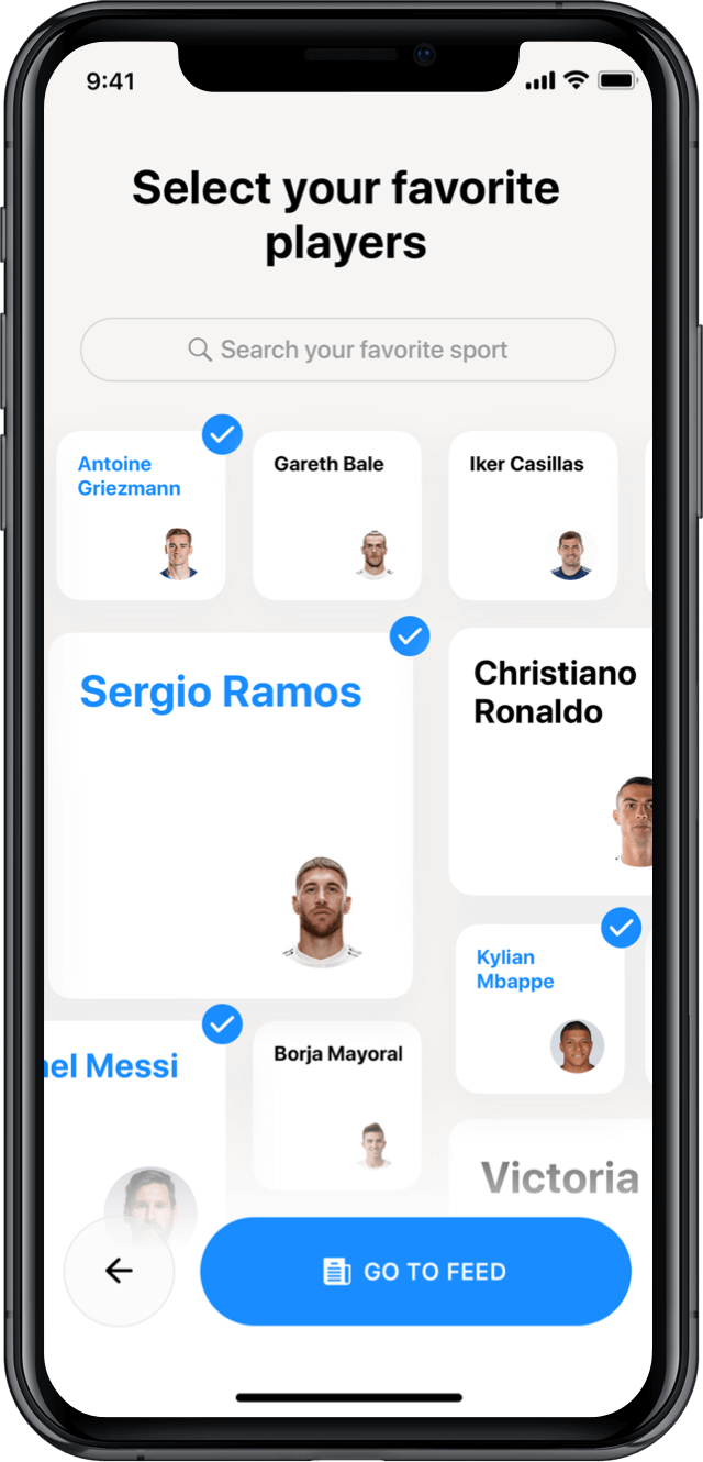 Iphone screen, rewind app, select your favourite players
