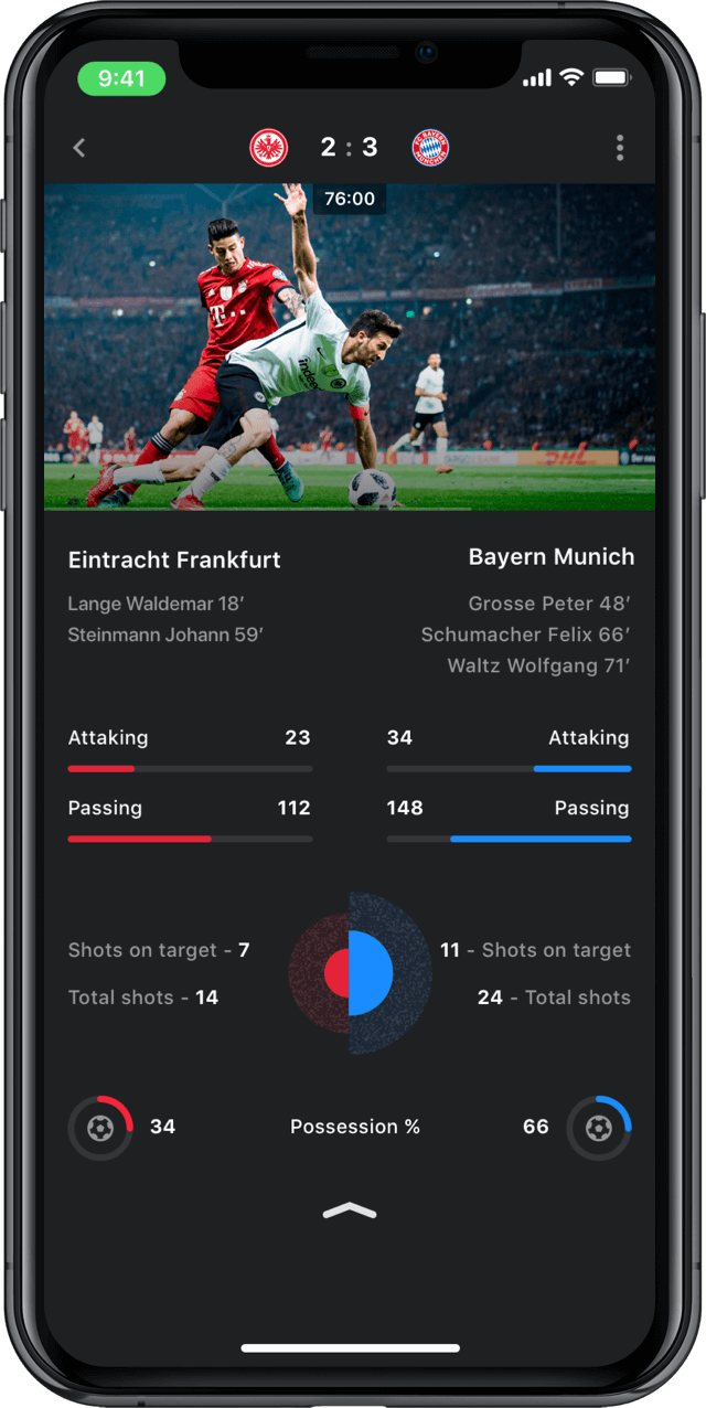 Iphone screen, rewind app, match statistics