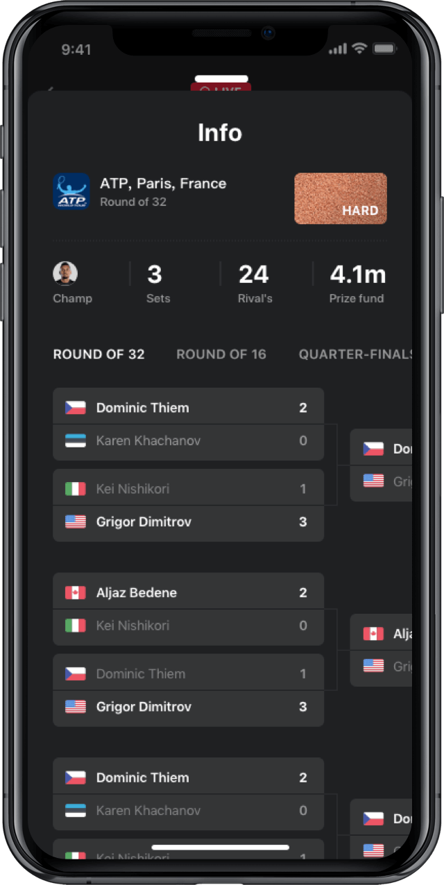 Iphone screen, rewind app, tennis statistics