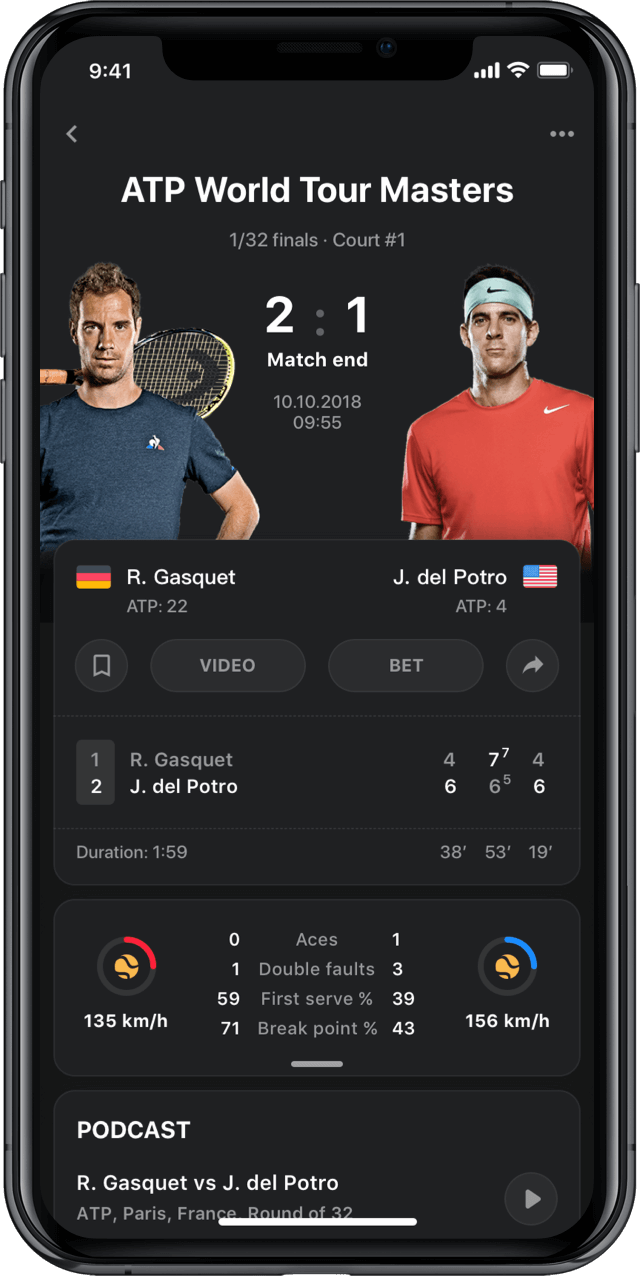 Iphone screen, rewind app, tennis