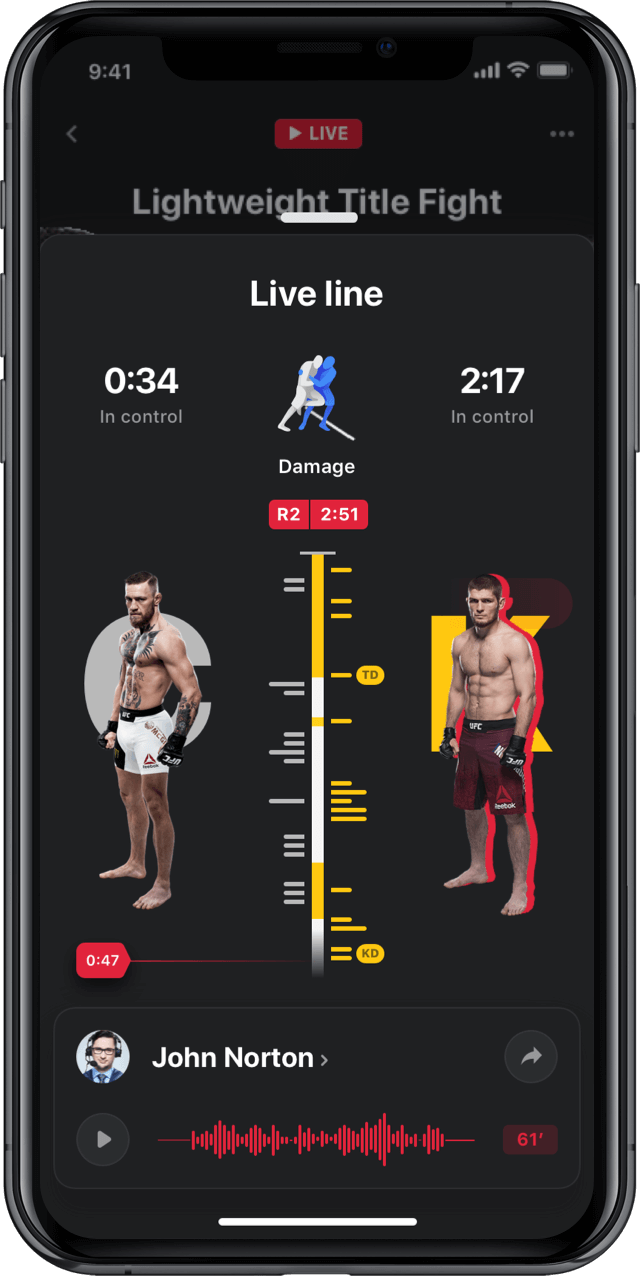 Iphone screen, rewind app, UFC, live line