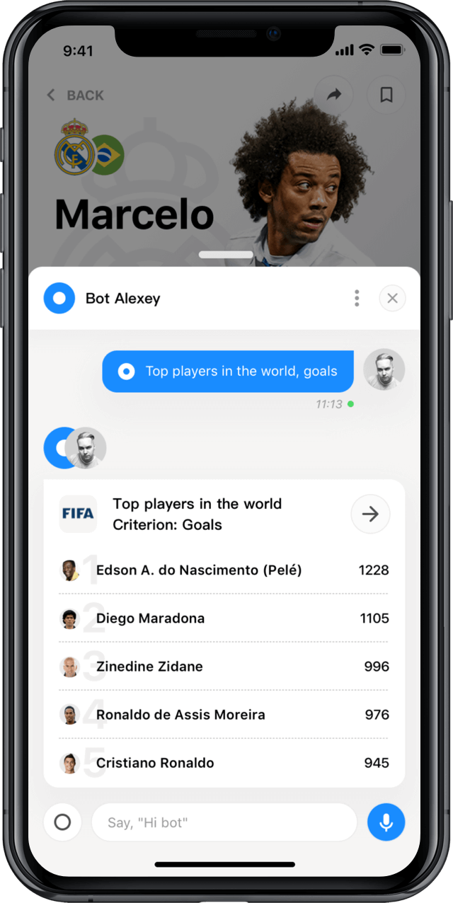Iphone screen, rewind app, player profile, chat
