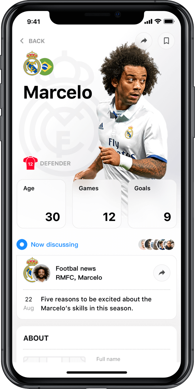 Iphone screen, rewind app, player profile, Marcelo Vieira da Silva