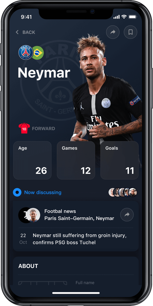 Iphone screen, rewind app, player profile, Neymar Junior