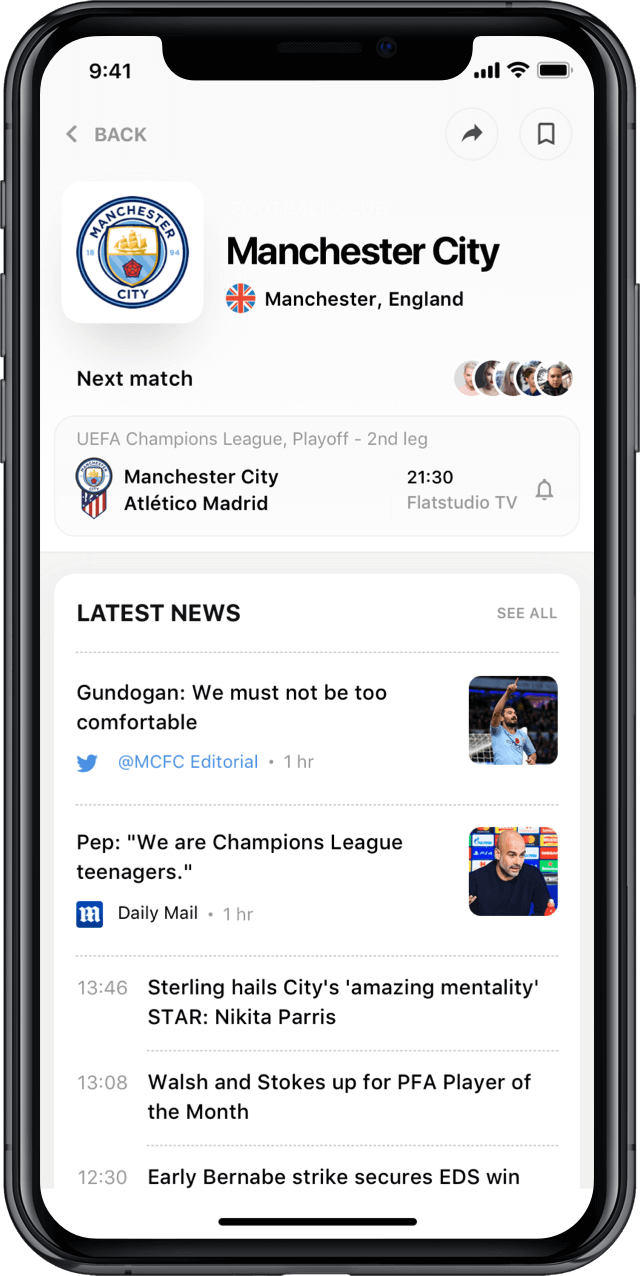 Iphone screen, rewind app, club profile, Manchester City