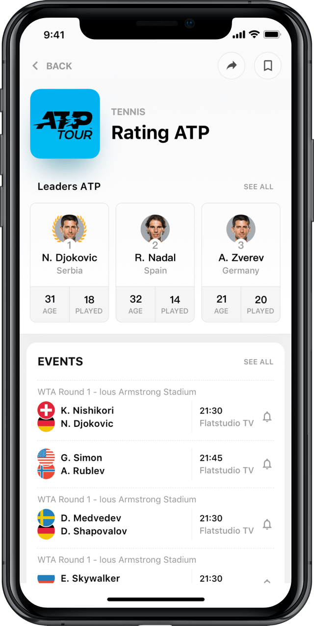 Iphone screen, rewind app, league profile, tennis rating