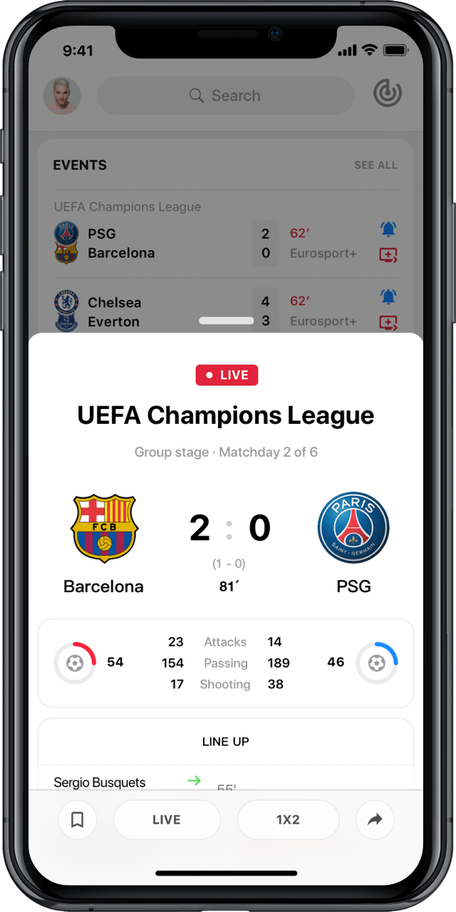 Iphone with live UEFA match statistics modal