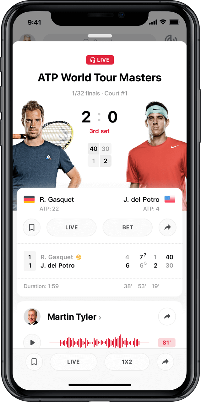 Iphone with live tennis match statistics modal