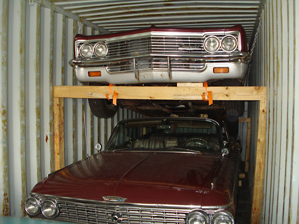 Classic cars in container