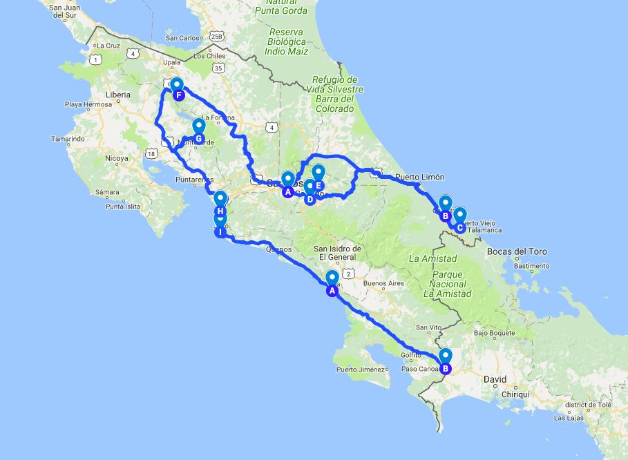 Itinéraire Costa Rica