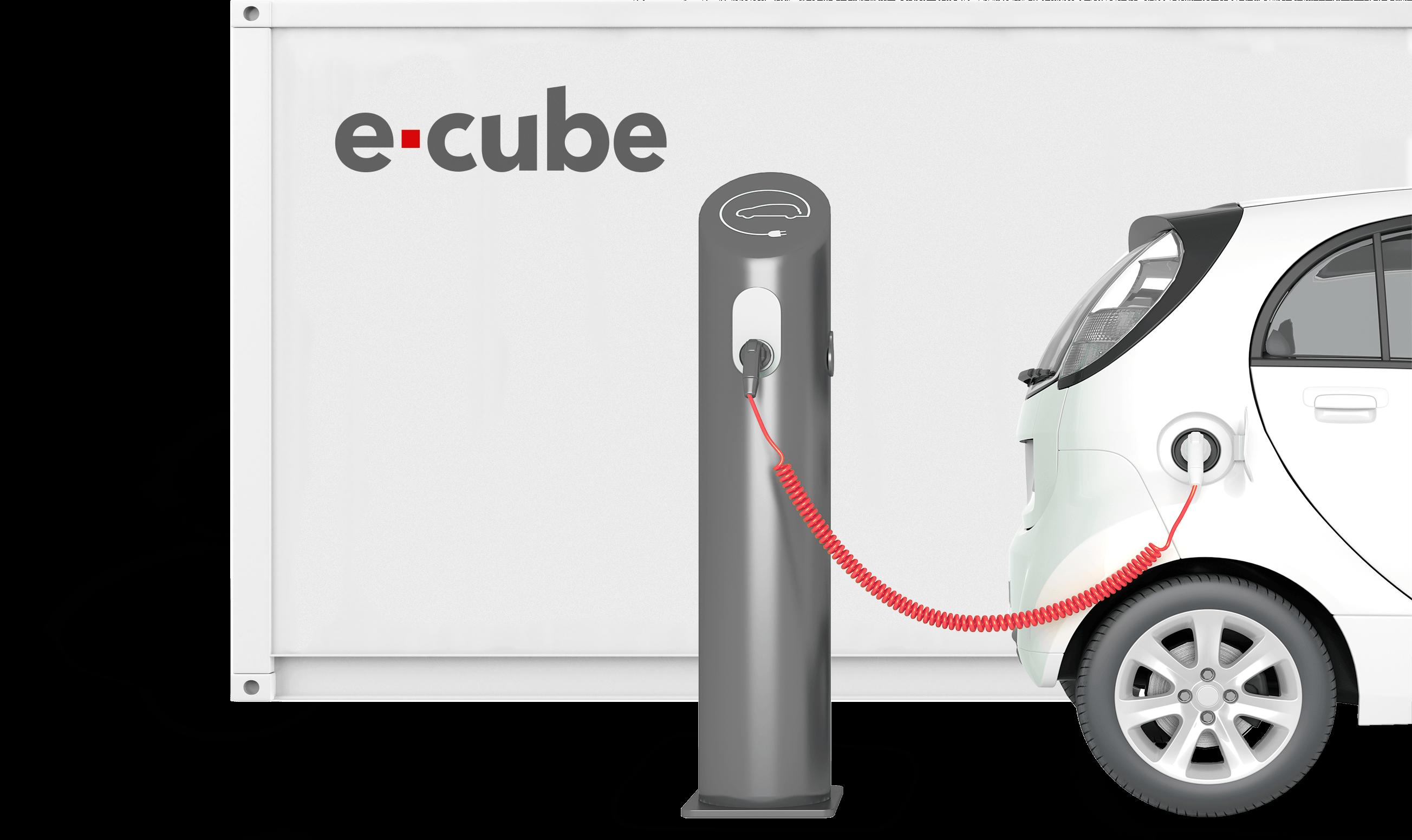 eCUBE mit einer Ladesäle und einem Elektrofahrzeug