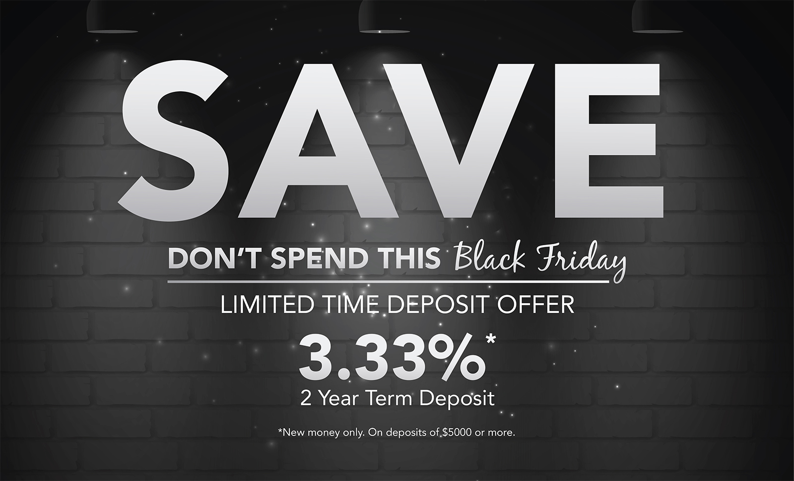 """Black and white brick wall with headline """"Save, don't spend this black Friday"""""""