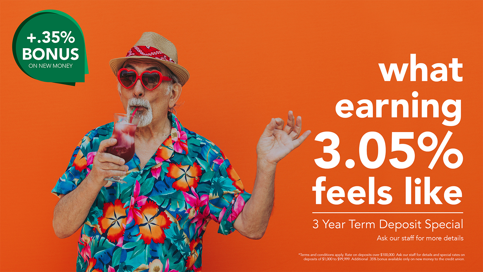 Man in his 60s wearing a Hawaiian shirt, red heart shaped sunglasses and a hat drinking a tropical drink.